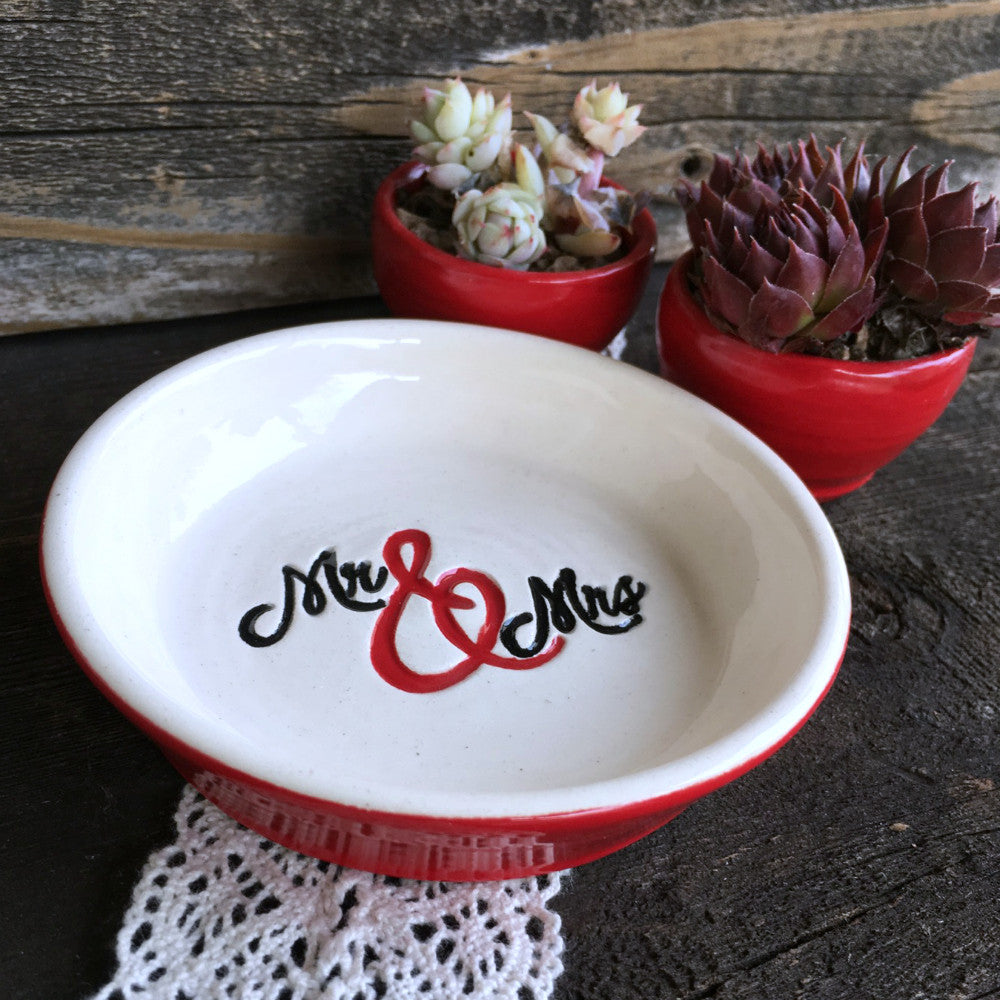 Mr & Mrs Script Ring & Jewelry Dish - Made to Order with Your Own Colors - Say Your Piece!