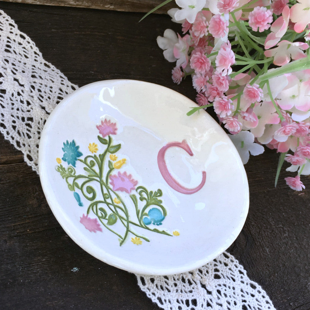Multi-Colored Floral Monogrammed Dish by Say Your Piece!