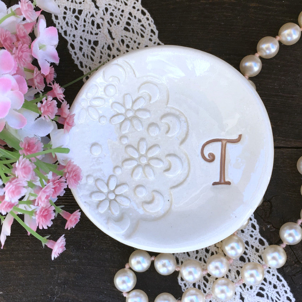 Monogrammed Ring Dish w/Doily Lace Impression - Say Your Piece!