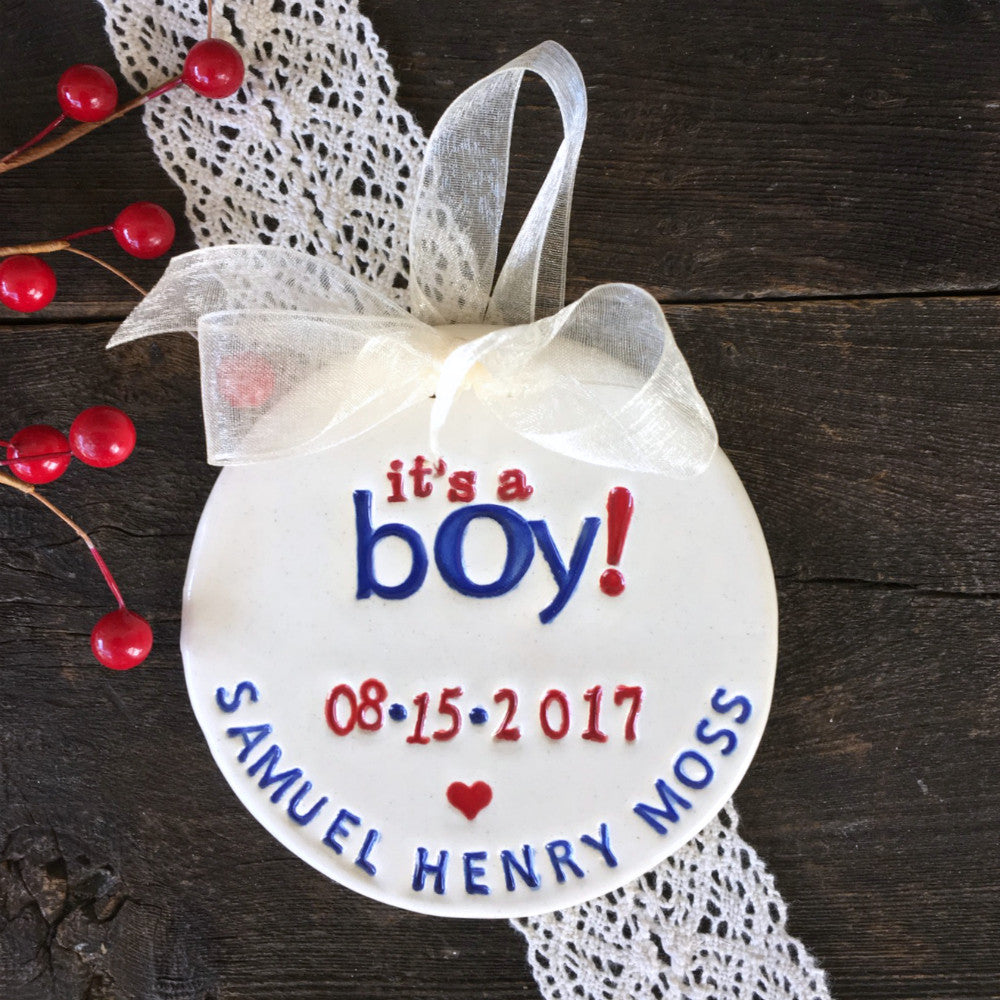 It's a Boy! Birth Announcement Ornament - Say Your Piece!