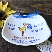 Personalized New Baby Stork Keepsake Plate - Special Delivery! - Say Your Piece!