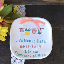 New Baby Girl Personalized Birth Plate - Little Girl Laundry Line - Say Your Piece!