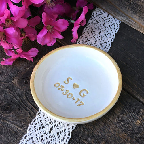 Classic Personalized  Ring Dish with Gold Accents - Say Your Piece!