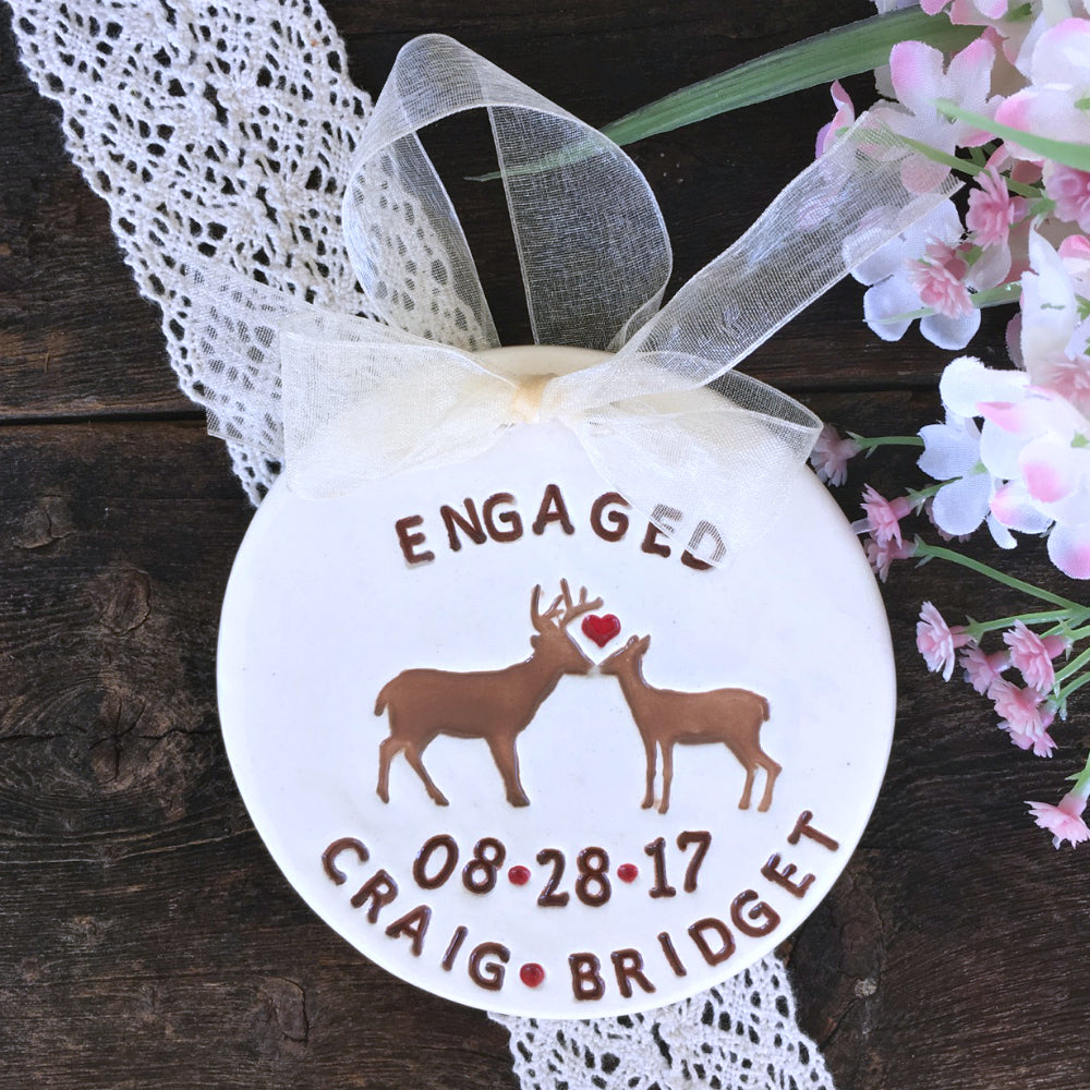 Personalized Engagement Ornament - Buck and Doe Couple - Say Your Piece!