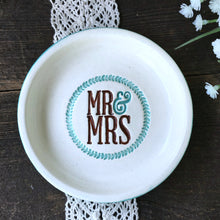 Mr & Mrs Ring Dish with Leaf Wreath - Gift Ready to Ship - Say Your Piece!