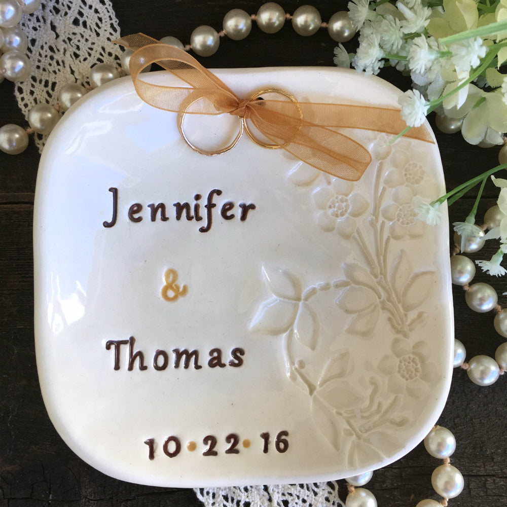 Creamy Natural White Floral Ring Bearer Bowl - Say Your Piece!