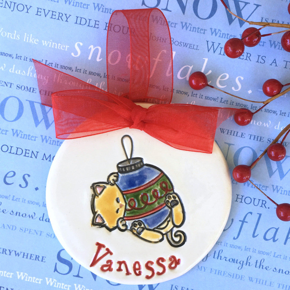 Curious Kitty Personalized Christmas Ornament - Say Your Piece!