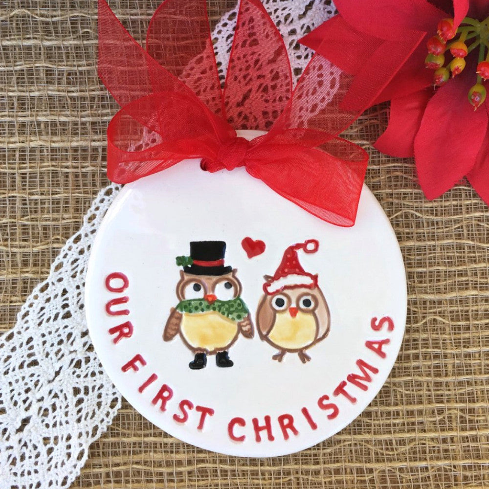 Our First Christmas - Owl Couple Christmas Ornament - Say Your Piece!