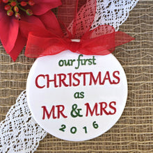 Our First Christmas as Mr & Mrs - Christmas Ornament - Say Your Piece!