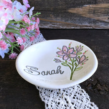 Floral Spray Personalized Bridesmaid Ring & Jewelry Dish - Say Your Piece!