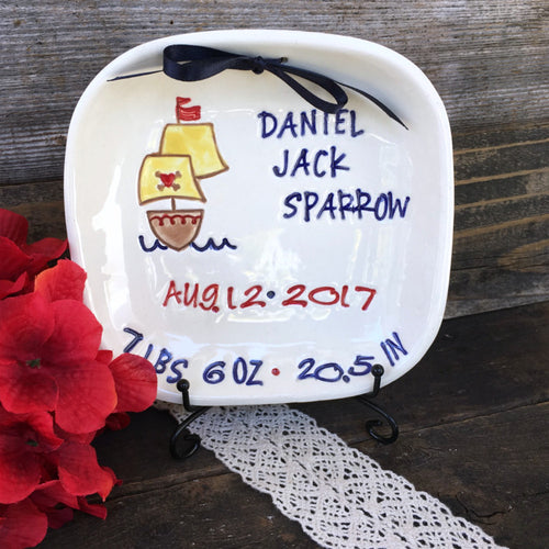 Ahoy Matey Baby Birth Announcement Plate - Say Your Piece!