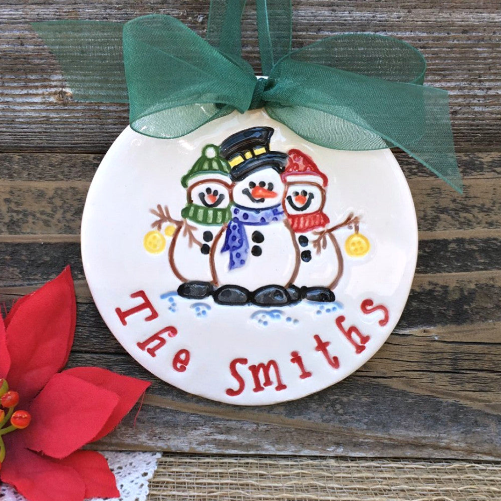 Personalized Christmas Ornament - Snowman Family Trio - Say Your Piece!