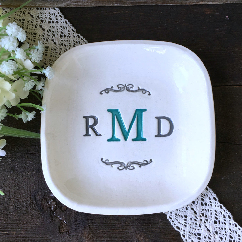 Square Monogrammed Tray - Personalized Wedding Gift / Anniversary Gift - Say Your Piece!