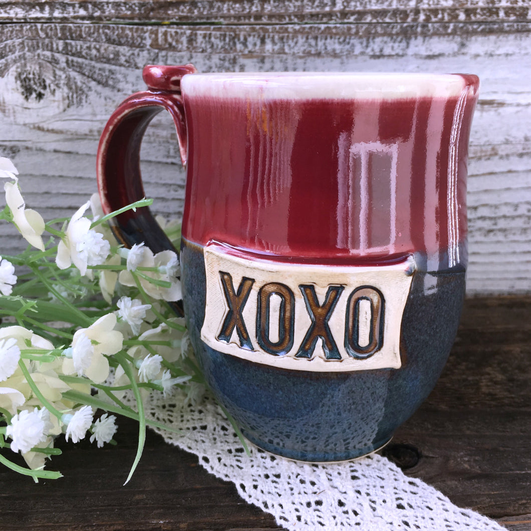 XOXO Handcrafted Stoneware Pottery Mug in Deep Blue & Burgundy Red - Say Your Piece!