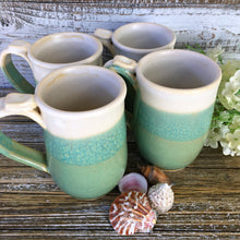 Set of Four 10 Oz Coffee Mugs - Beach Chic in Sea Green and Antique White - Say Your Piece!