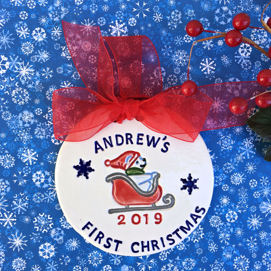 Baby's First Christmas  Santa Bear Personalized Ornament - Say Your Piece!