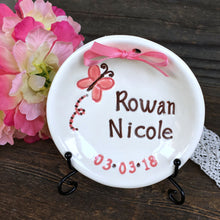Butterfly Birth Announcement Keepsake Plate - Say Your Piece!