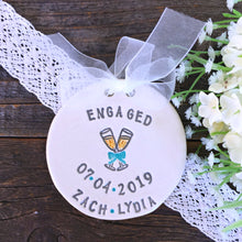 Personalized Engagement Ornament - Champagne Toast - Say Your Piece!