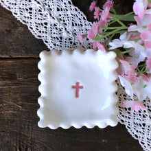 Scalloped Edge Square Dish with Cross