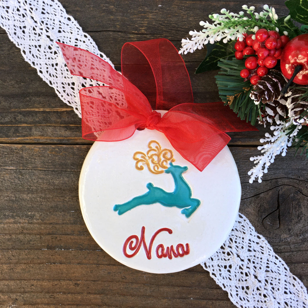 Prancing Reindeer Personalized Christmas Ornament