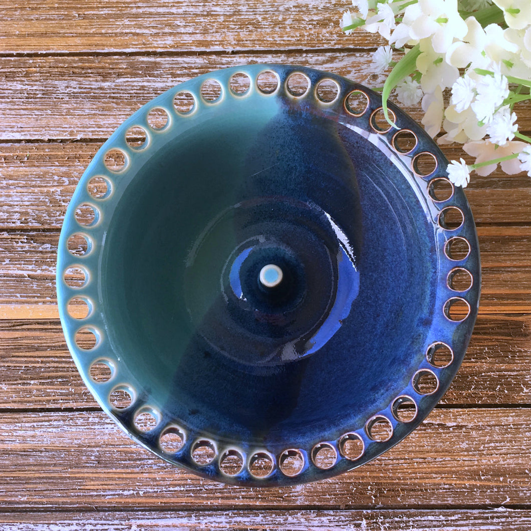 Turquoise and Blue Stoneware Earring Holder & Jewelry Bowl - Say Your Piece!