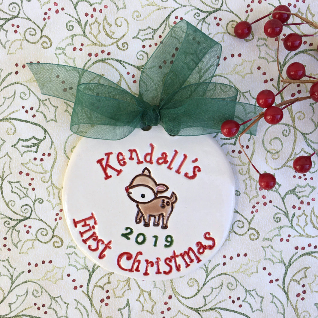 Baby's First Christmas Little Fawn Personalized Ornament - Say Your Piece!