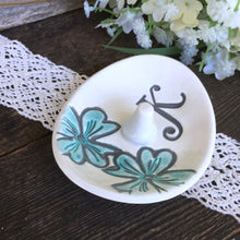 Floral Ring Holder Dish with Monogram - Say Your Piece!