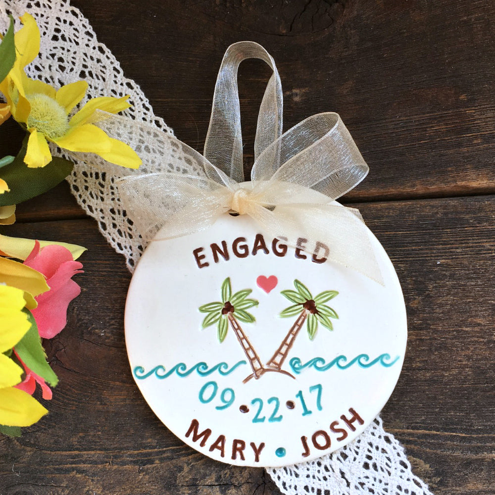 Personalized Engagement Ornament - Proposal in Paradise - Say Your Piece!