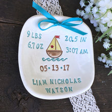 Sailboat Baby Birth Announcement Plate - Say Your Piece!