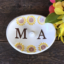 Sunflower Oval Monogrammed Ring Holder - Say Your Piece!