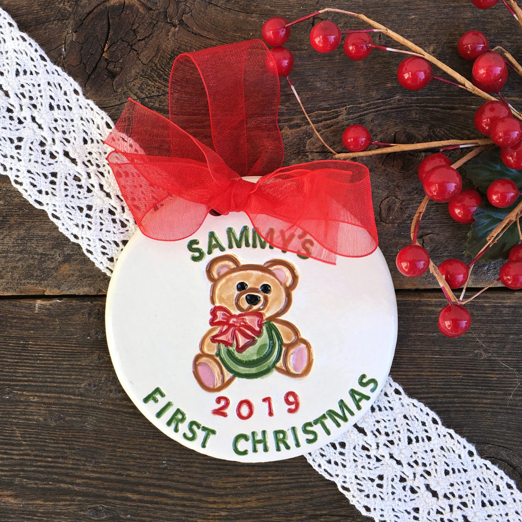 Teddy Bear Personalized Baby's First Christmas Ornament - Say Your Piece!