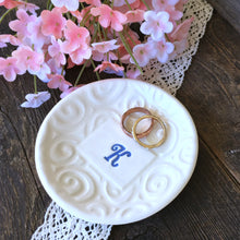 Round Monogrammed Trinket Dish with Elegant Texture - Say Your Piece!