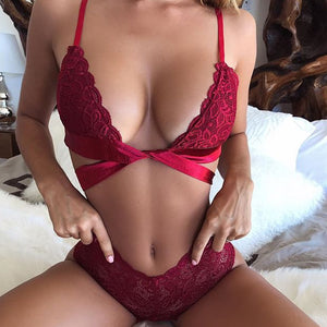 Sexy Lace Strap Push Up Bra With Panties G-string