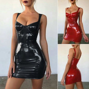 PVC PU Leather Mini Dress