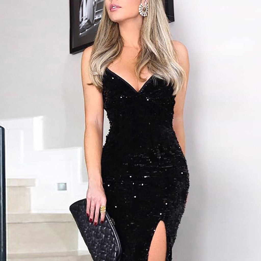 Deep V Party Dress