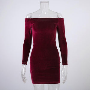 Wine Red Velvet Dress