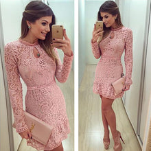 Load image into Gallery viewer, Pink Lace Dress Long Sleeve