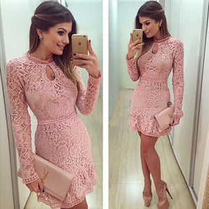 Pink Lace Dress Long Sleeve