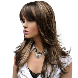 Long Brown Wig with Blonde Highlights