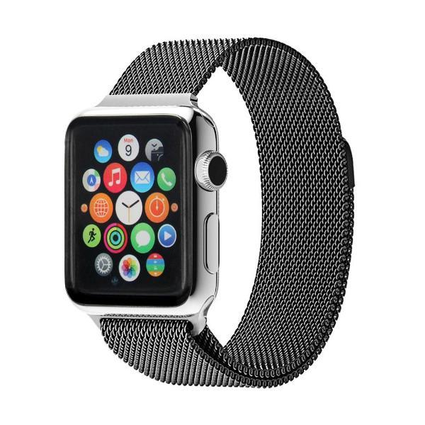 49626f30f9f4a4 STEALTH / BLACK MILANESE LOOP BAND FOR APPLE WATCH - WatchStraps.