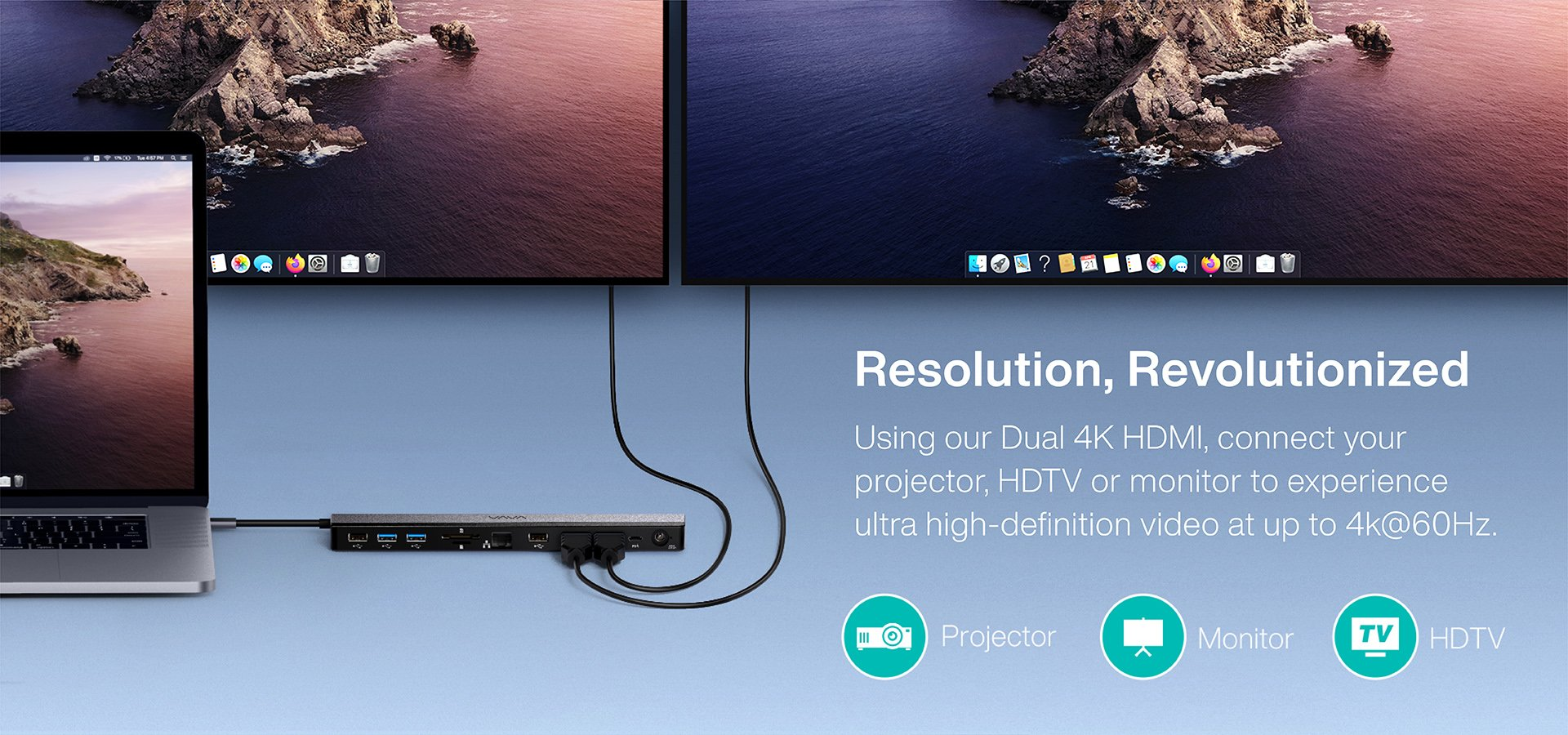 Dual 4 K HDMI docking station usb c