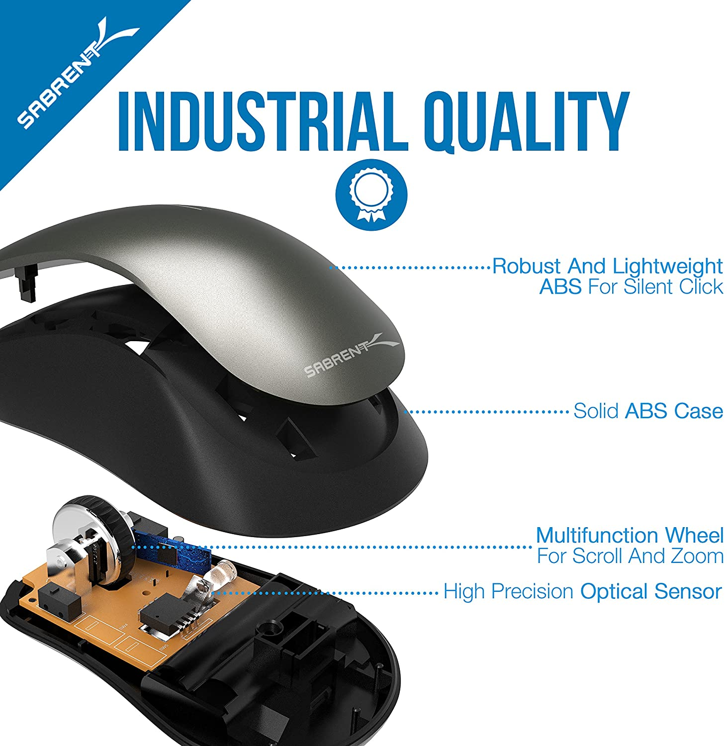 Sabrent 3-Button Bluetooth Optical Mouse Mice quality
