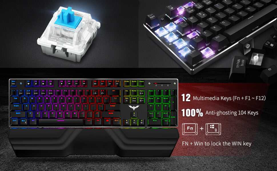 havot backlit RGB keyboard gamers combo