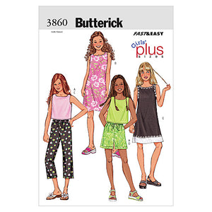Butterick B3860105 Girls'/Girls' Plus Top, Dress, Shorts & Pants 8 - 10 -12 -14 16