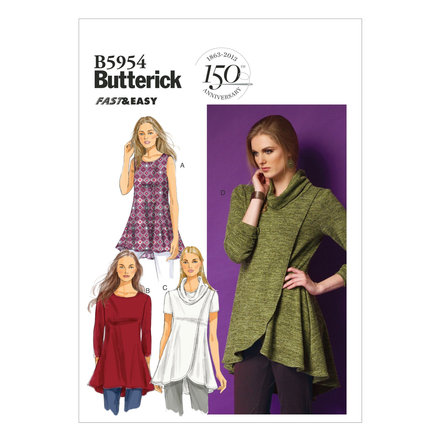 Butterick B59540Y0 Misses' Tunic XSM-SML-MED