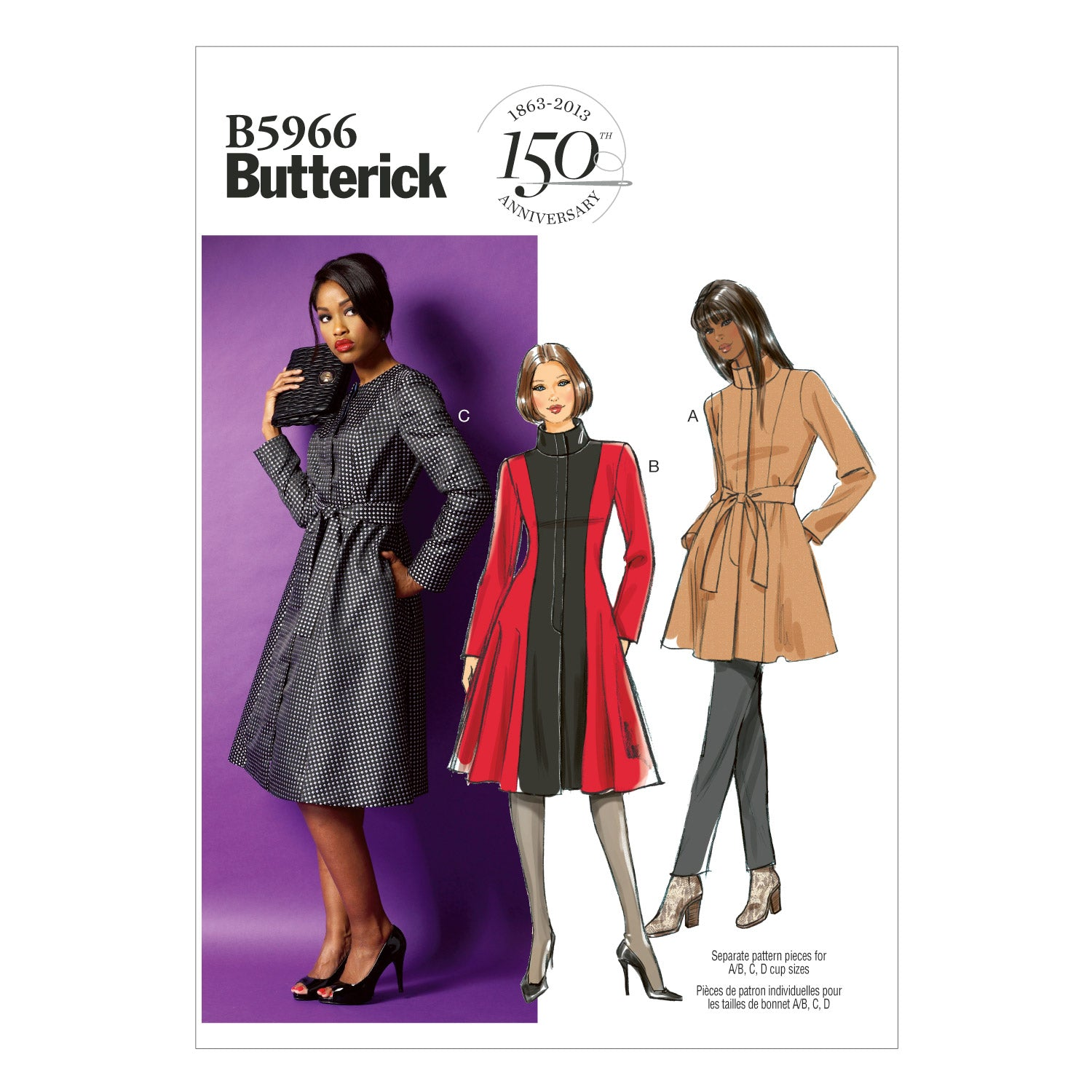 Butterick B5966RR0 Misses'/Women's Jacket, Coat and Belt 18W-20W-22W-24W