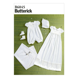 Butterick B6045YA5 Infants' Romper, Dress, Sash, Hat, Booties and Blanket All Sizes In One Envelope