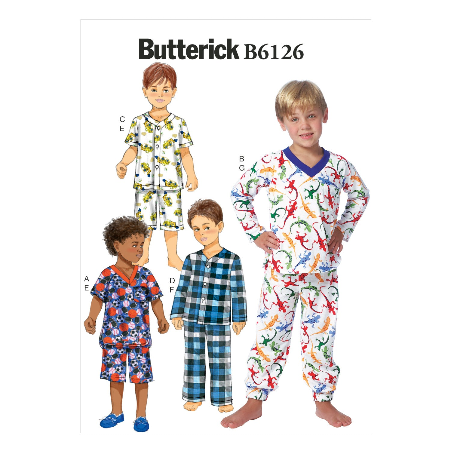 Butterick B6126CL0 Children's/Boys' Top, Shorts and Pants 6-7-8