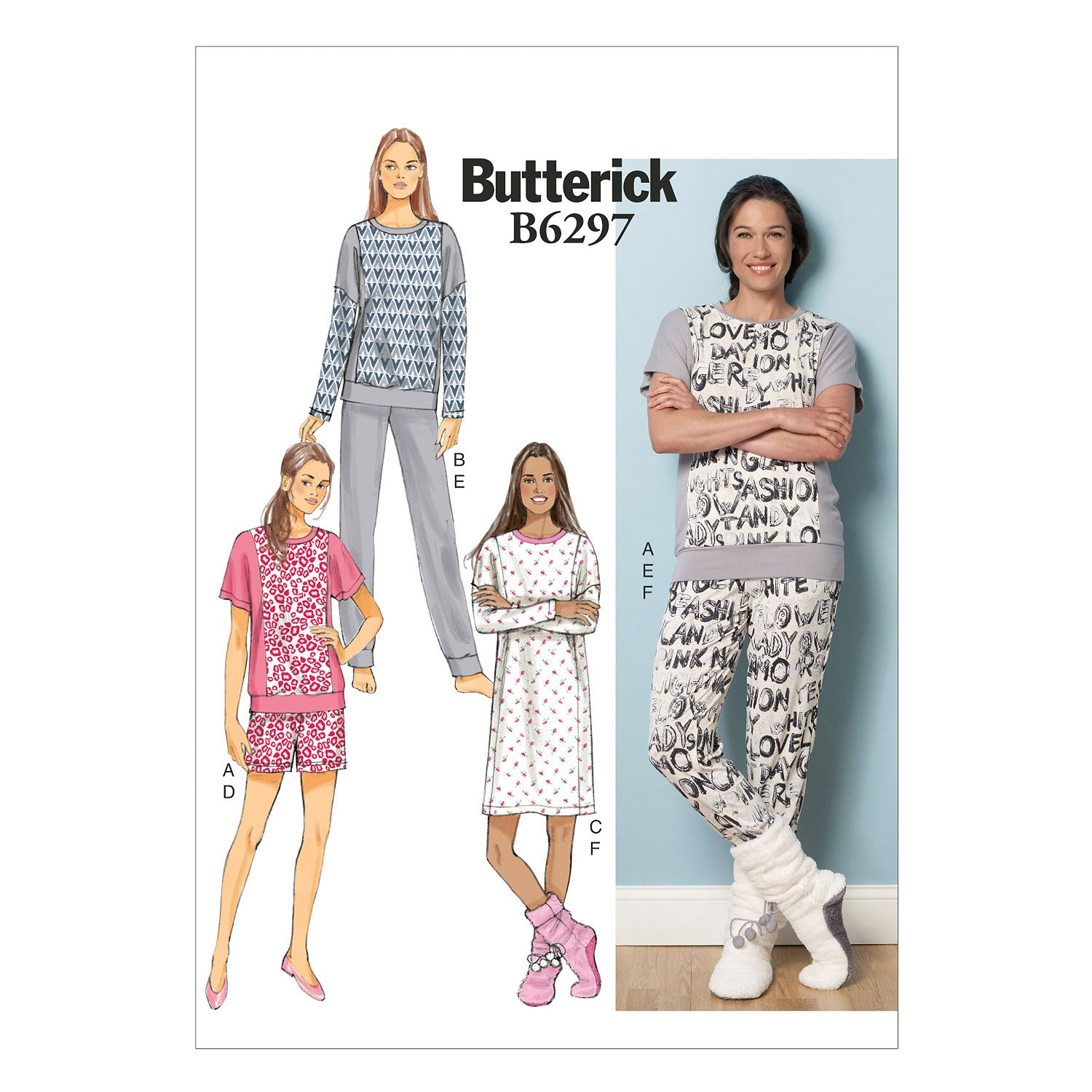 Butterick B6297ZZ0 Misses' Top, Dress, Shorts, Pants and Lounge Socks LRG-XLG-XXL
