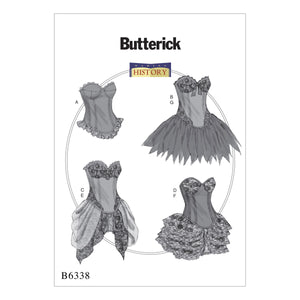 Butterick B6338A50 Curved-Hem Corsets and Skirts 6-8-10-12-14
